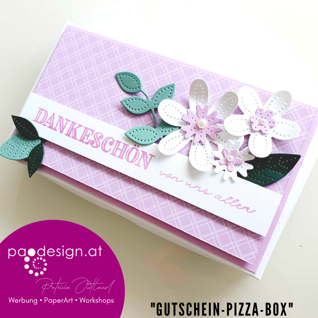 "#NoTalkJustCraft Stampin' UP! Perforierte Blumen ""Gutschein-Pizza-Box"""