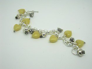 Sterling, Beads & Yellow Jade