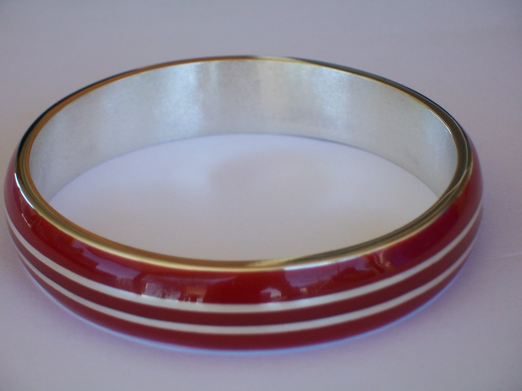 Sterling Silver & Resin Stripe Bangle - SOLD