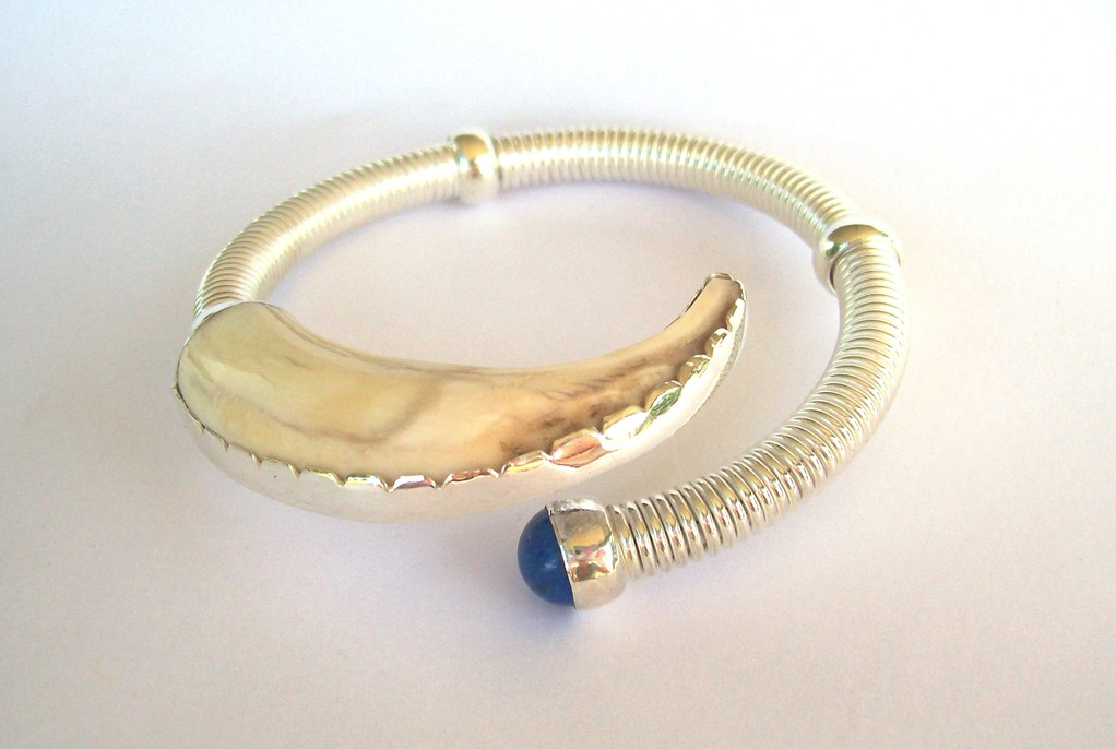 Sterling Silver, Pigs Tusk, Lapis Bangle - See Current Collection