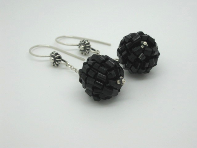 Sterling Silver & Old Button Earrings - SOLD