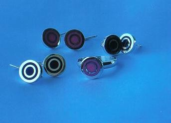 "Resin & Sterling Silver ""Target"" Earrings - SOLD"