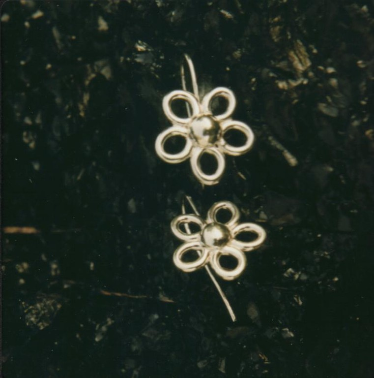 Sterling Silver Daisy Earrings on Sheppard Hooks - SOLD