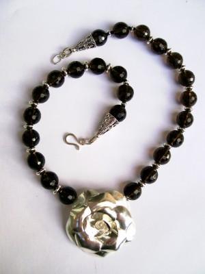 Smokey Quartz & Sterling Rose Necklace