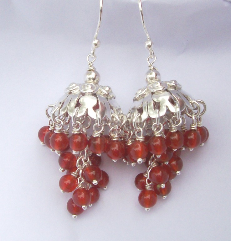 """Chandelier"" Earrings, Carnelian & Sterling - SOLD"