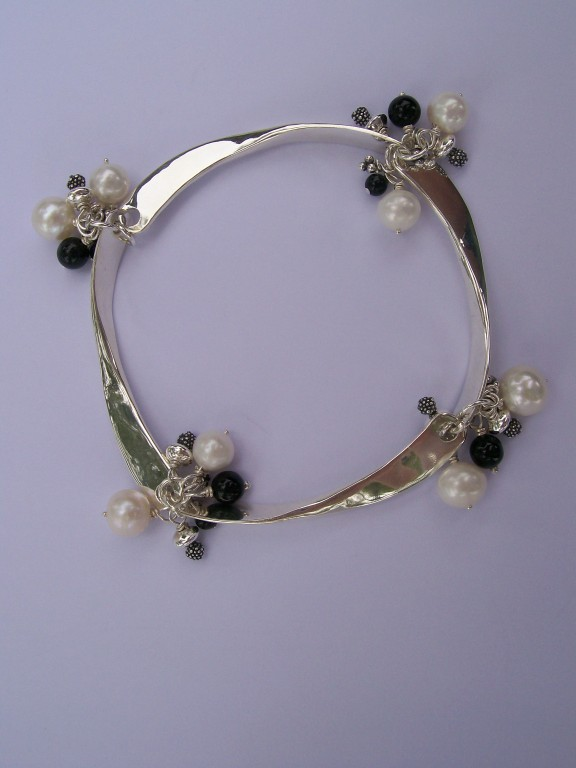 """Madonna"" Bracelet, Pearls, Onyx & Sterling - SOLD"