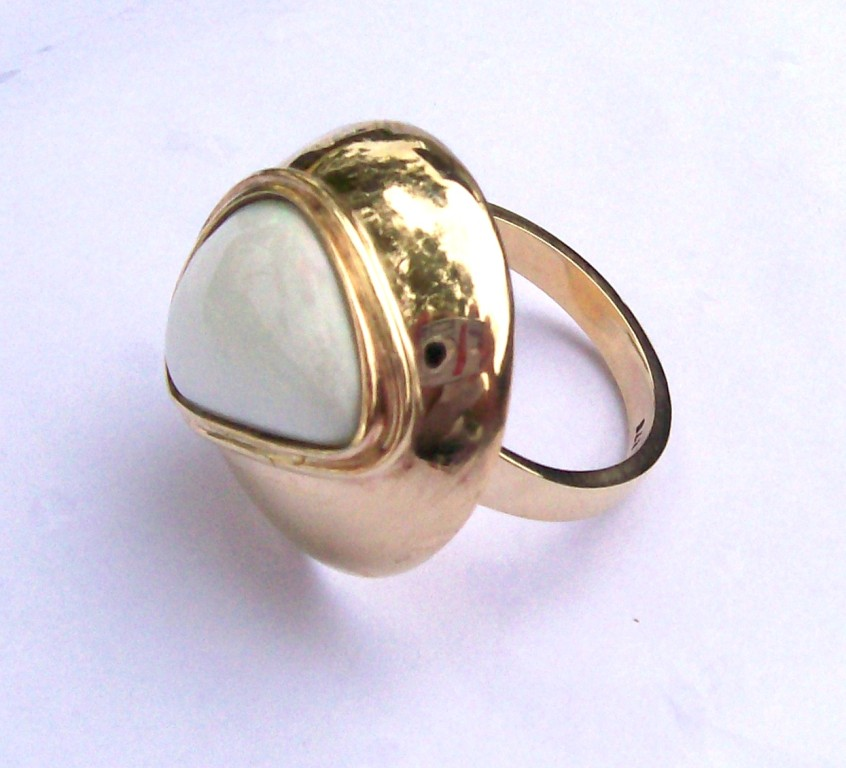 9ct Yellow Gold & White Opal Dress Ring - SOLD