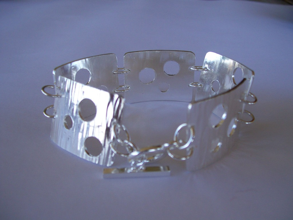 Stg Silver Swiss Cheese Bracelet - SOLD