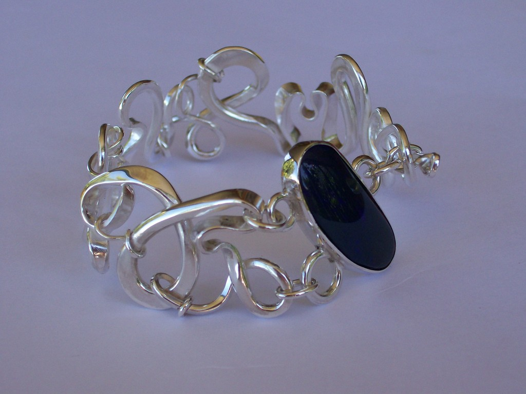 Sterling Silver & Boulder Opal Forged Bangle - SOLD