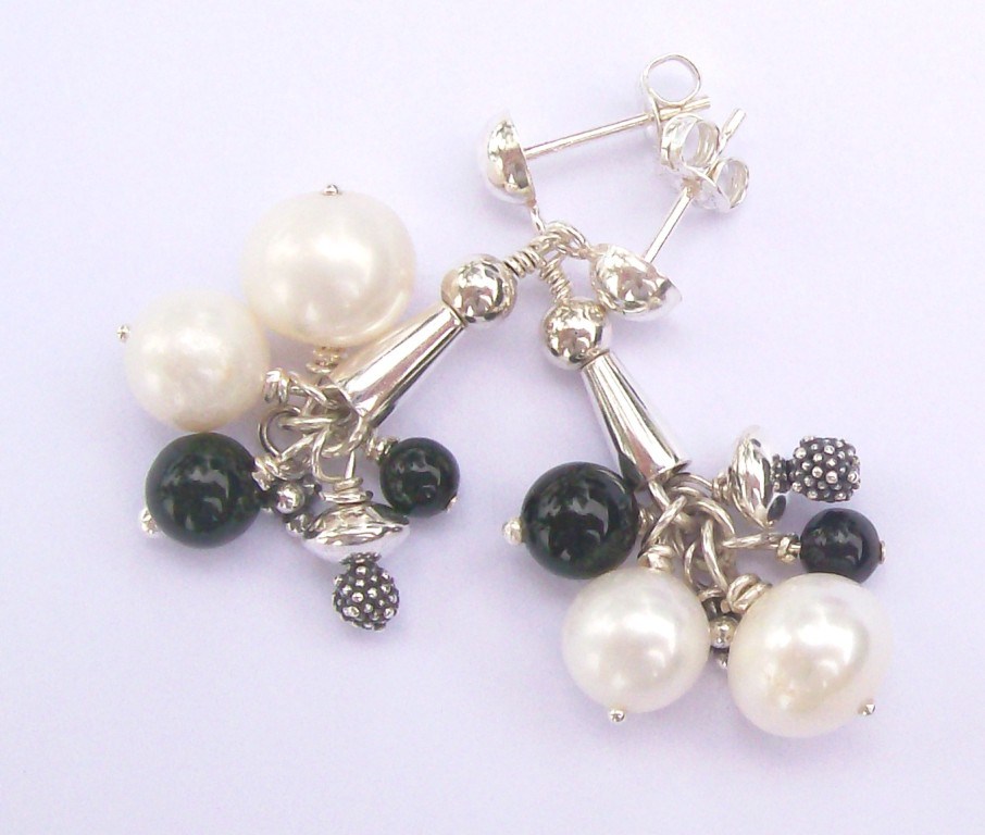 """Madonna"" Earrings, Pearl, Onxy & Sterling Silver - SOLD"