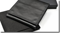 Folder, black nappa leather, fot travel or space-saving storage