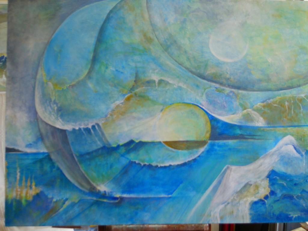 Rêverie sur l'Eau  : Acrylique sur toile (100x80) 1/3