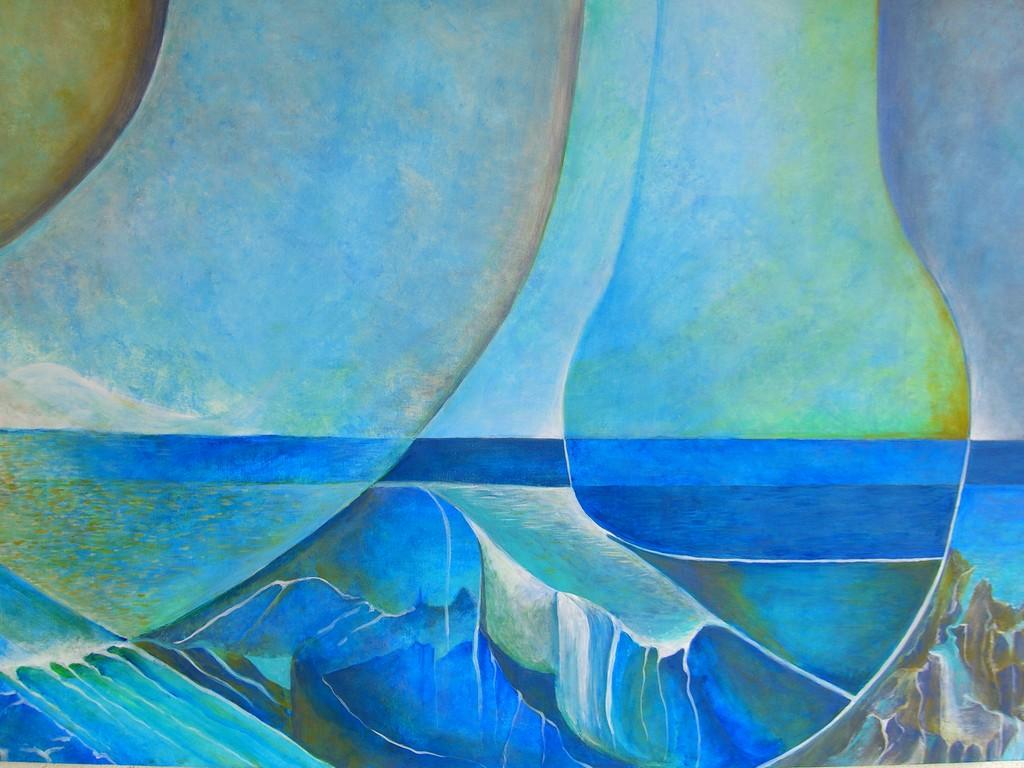 Rêverie sur l'Eau :  Acrylique sur toile (100x80)  2/3