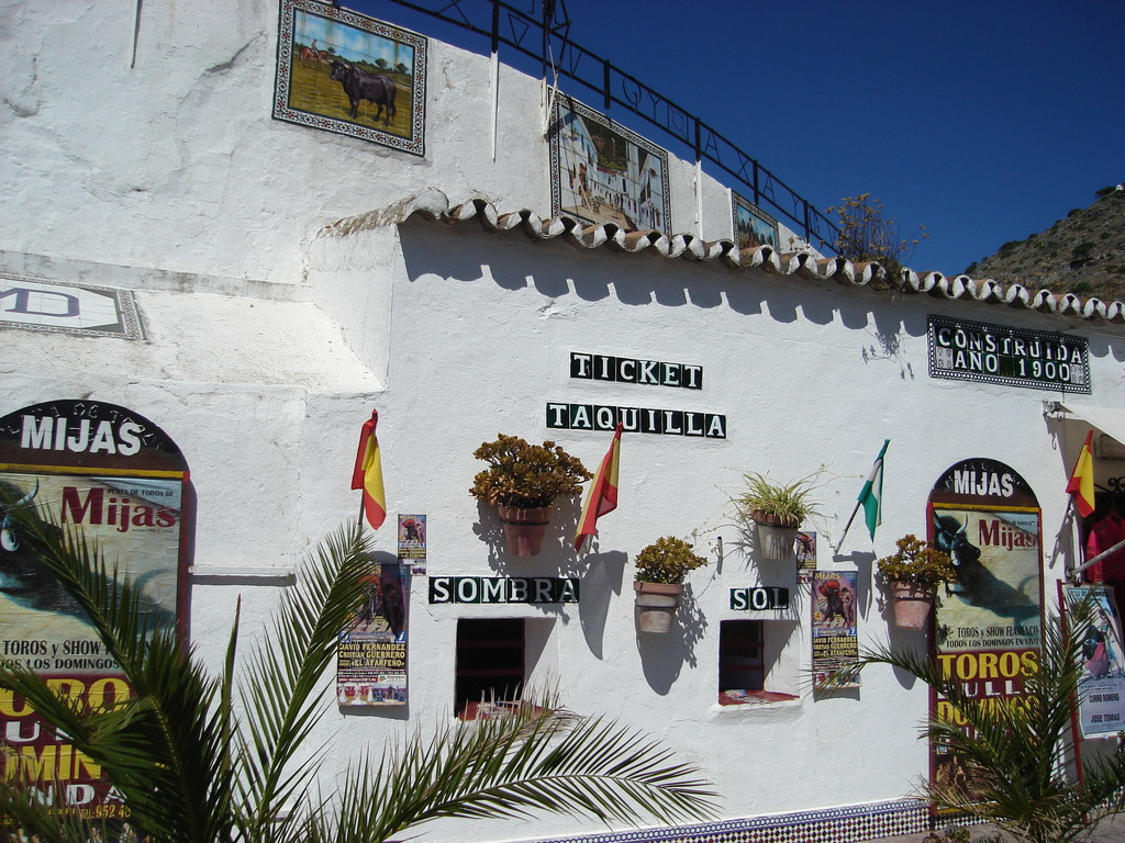 The bull ring was another pretty building in Mijas - we liked the different ticket windows for sunny or shady seats