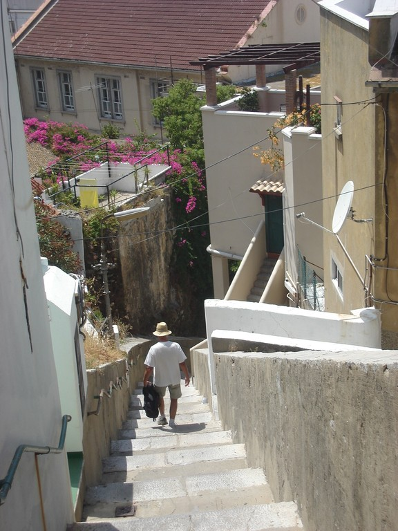The houses are built right up the steep slopes of the Rock and so many streets are steps