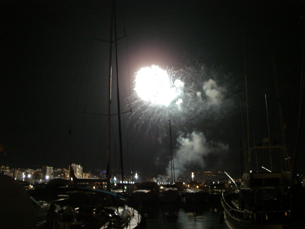 The fireworks in Spain are often real big, and doubly impressive when it's right next to the harbour