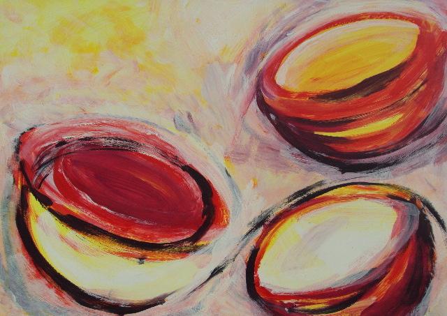 Kreisel rot, Acryl auf Papier, 47x64