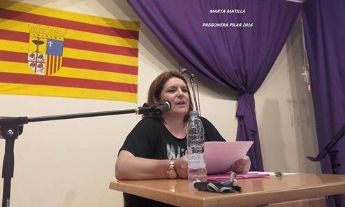 Marta Matilla Alfaro, pregonera de las fiestas del Pilar 2016 del C.A.S