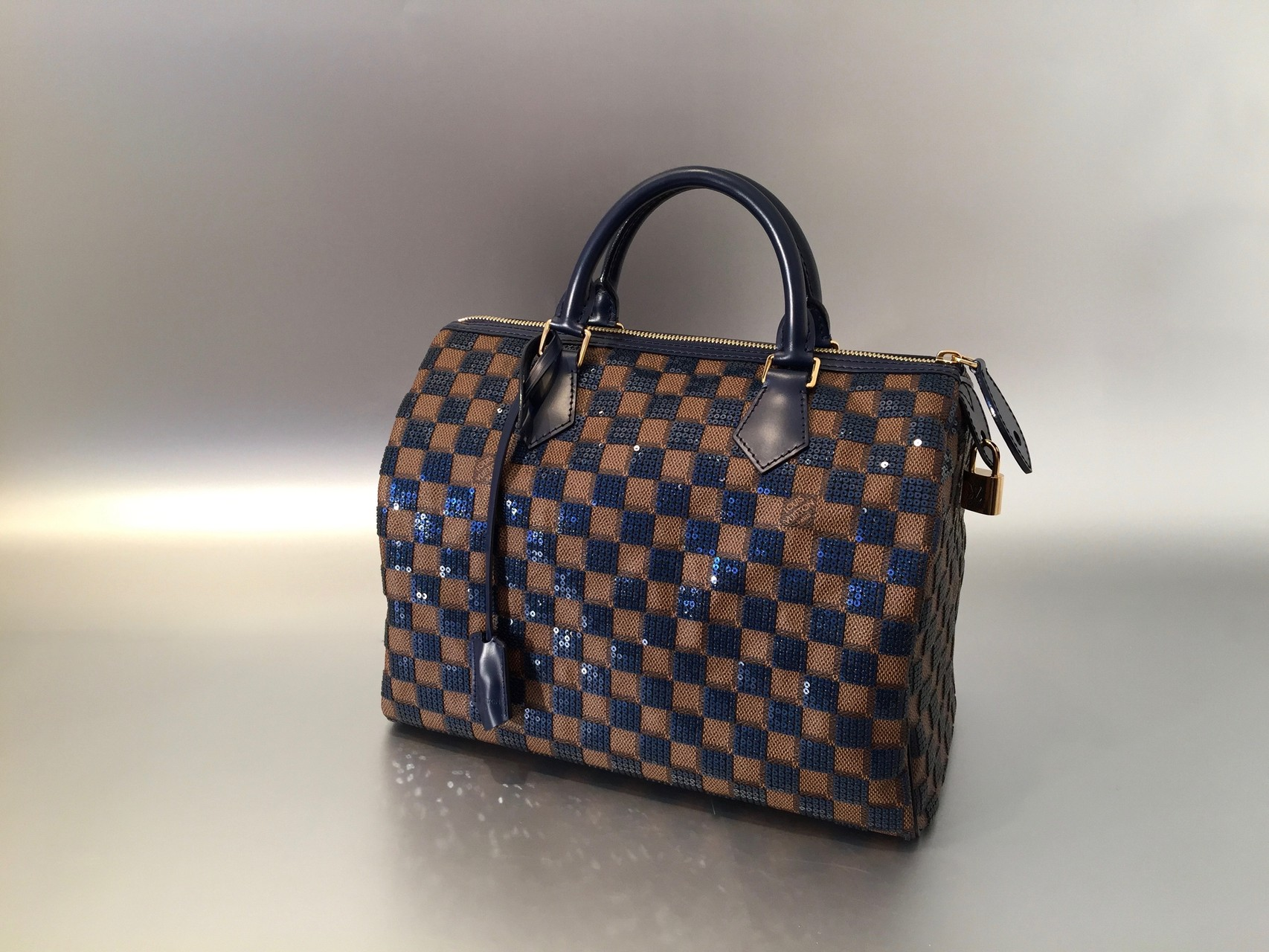 louis vuitton damier paillettes speedy in blau ankauf verkauf second hand designertaschen. Black Bedroom Furniture Sets. Home Design Ideas