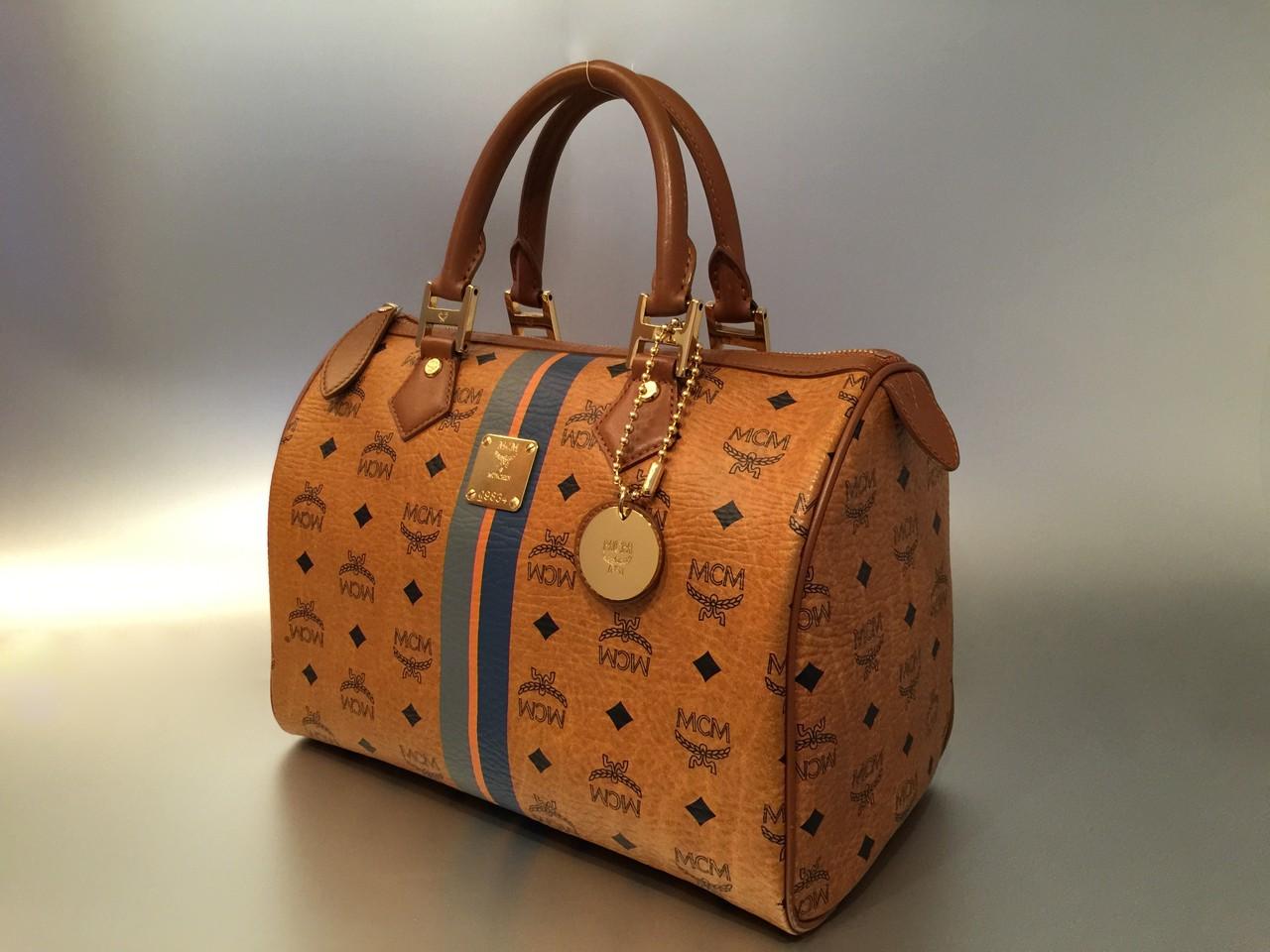 MCM Air Visetos Boston Bag in Cognac