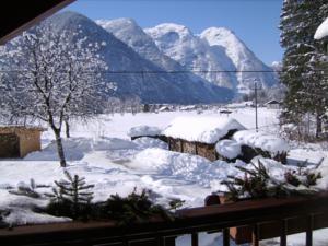 Blick v. Balkon der Ferienwohnung im Winter