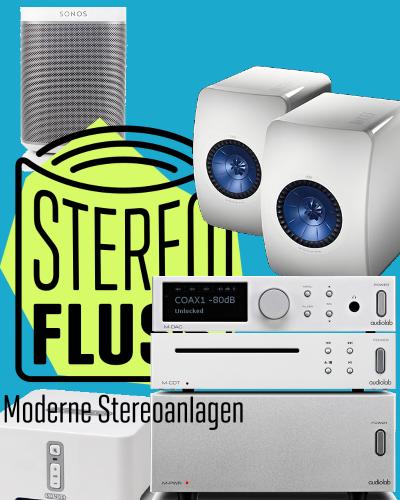 audiolab M-PWR, M-DAC, M-CDT mit KEF LS50 Lautsprechern und Sonos Connect und QED Kabeln und Steckern.