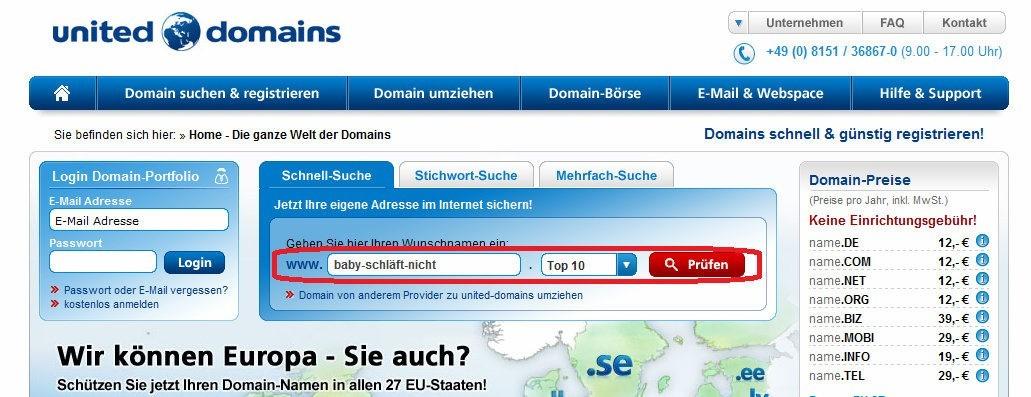 Eigene Domain registrieren,  United Domain, Eigene URL