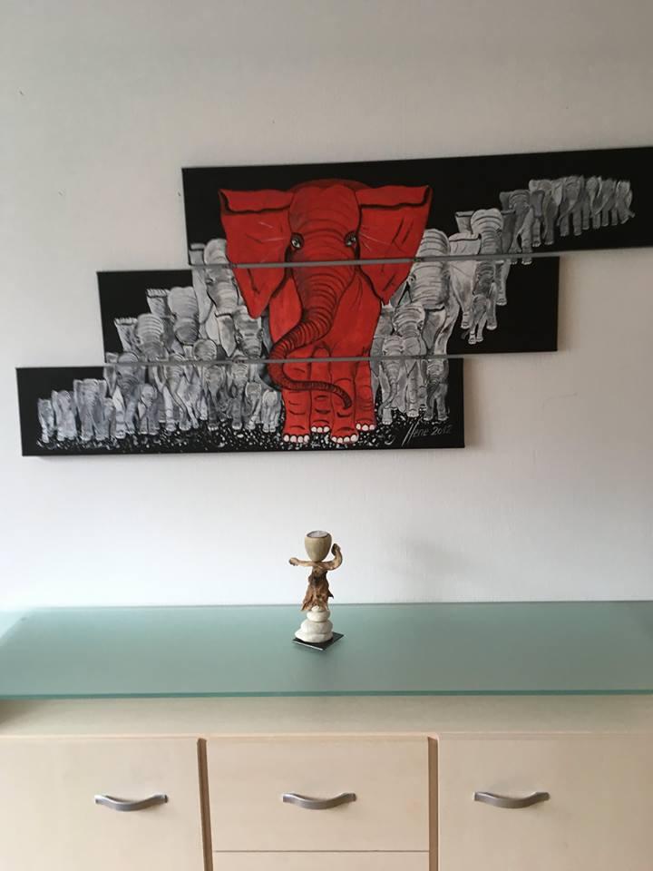 décoration en bois flottant 4 sous tableau d'éléphants de Hene Krähenbühl