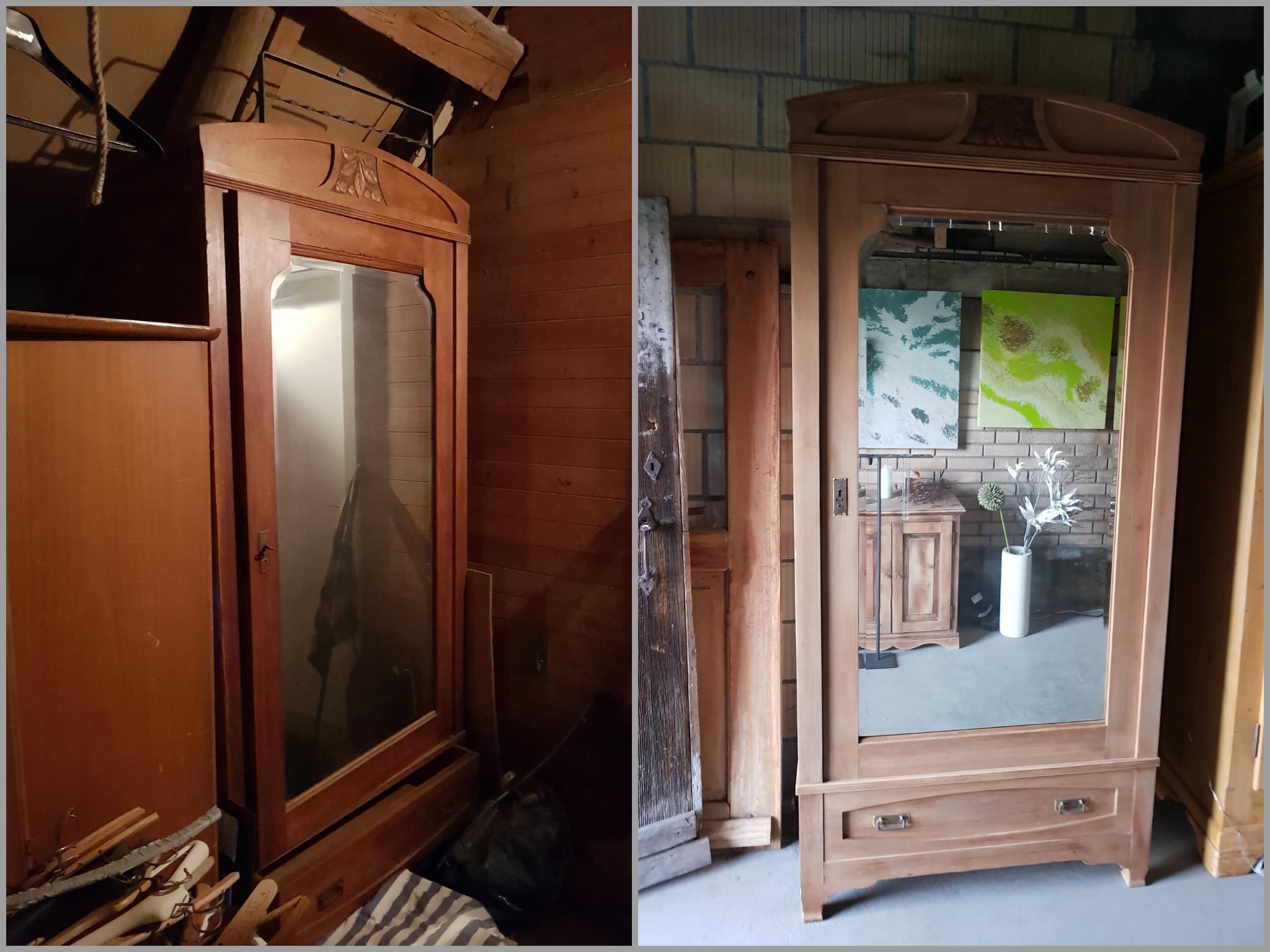 Kirschbaumschrank mit Spiegel und Schublade