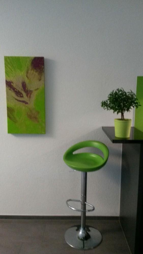 Leinwandbild neben grüner Küche