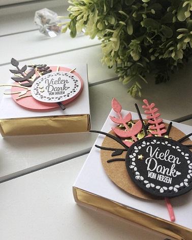 stampin up hanuta verpackung papierwunder kleines goodie danke Blüten des Augenblicks schöner Strauß Quartett fürs Etikett paketbeileger