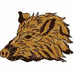 Wildschweinkopf, 79x55 mm, 4490 Stiche