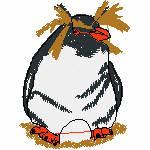 Pinguin mit Ei, 72x97 mm, 12122 Stiche
