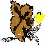 Eichhörnchen mit Blume, 98x96 mm, 4968 Stiche