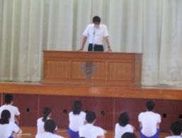 夏季休業前の全校集会
