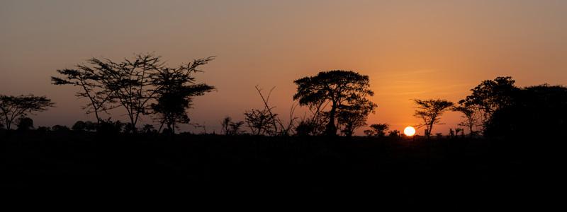 Lever du soleil sur la plaine de Liben, au sud-est de Ngele