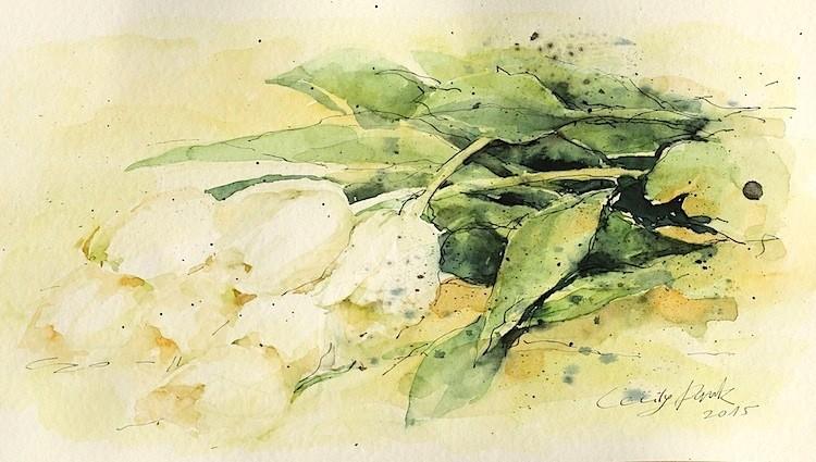 Pflanzen blumen in aquarell mappenkurs d sseldorf for Modezeichnen kurs