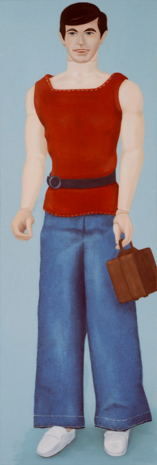 z.t.  barbie no.5  olieverf - linnen   190 x 65 cm.  2003