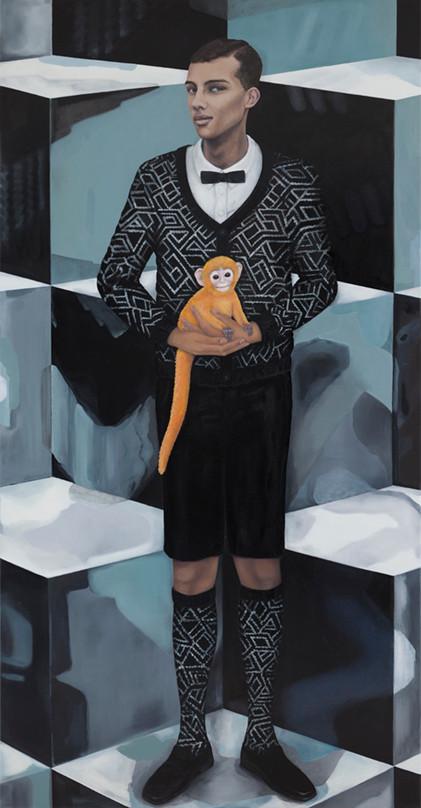 """""""Donnez moi un bébé singe, il sera formidable..""""   olieverf - linnen  230 x 120 cm  2014/2015"""