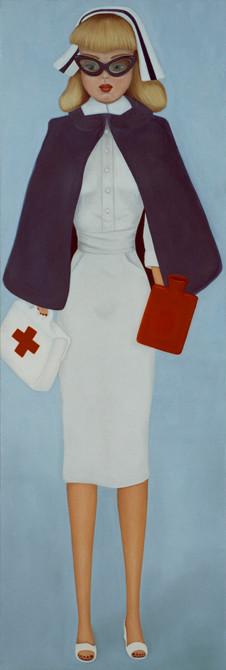 z.t.  barbie no.4   olieverf - linnen   190 x 65 cm.  2003
