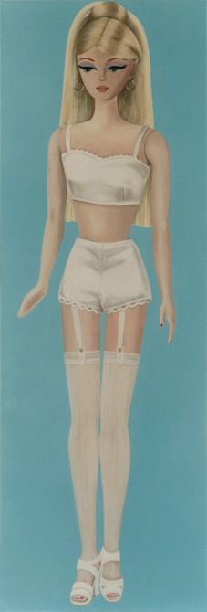 z.t.  barbie no.1   olieverf - linnen  190 x 65 cm.  2002