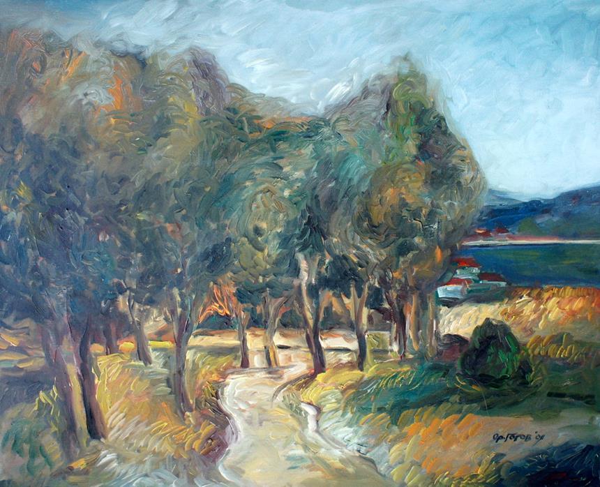 Öl Gemälde - Wald Landschaft - Stil Expressionismus
