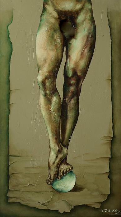 Männlicher Akt - Öl-Acryl Gemälde