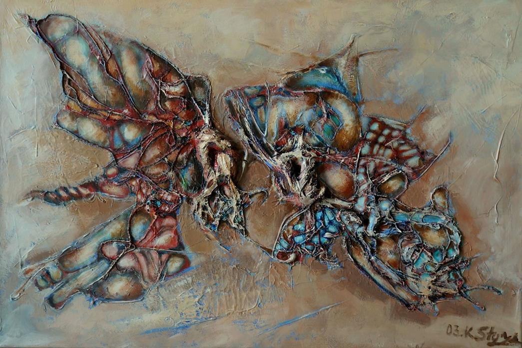 Surreale Malerei - Schmetterlinge - Acryl Gemälde