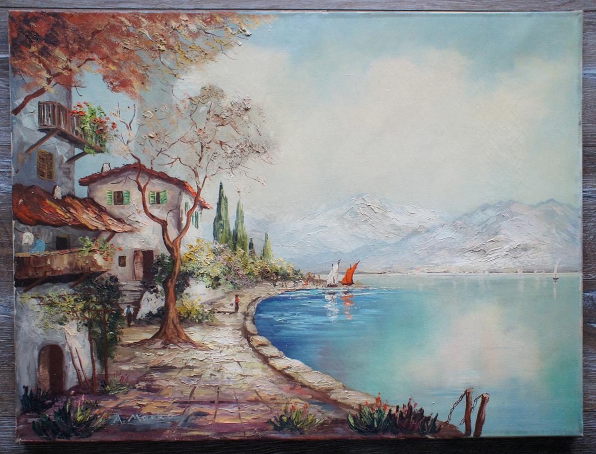 Schöne Landschafts- und Seefahrts Szene - Ölgemälde