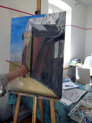 Kunstkompass Nord, Dozent: G. Marquard, Grisaille Untermalung-in Farbe ausgearbeitet  4