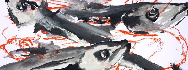 Fische, Gouachefarben, schwarz/weiß, rote Ölkreide