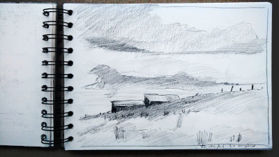 Bleistift Zeichnung, Papier, Landschaft, zwei Scheunen