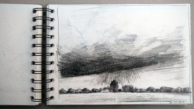 Monats-Challenge, Bleistiftzeichnung, Landschaft, es beginnt zu regnen, wolken, wiesen, bäume