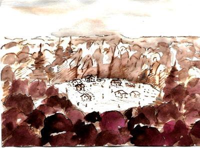 Federzeichnung, Dorf in einer Lichtung, von Wald umgeben